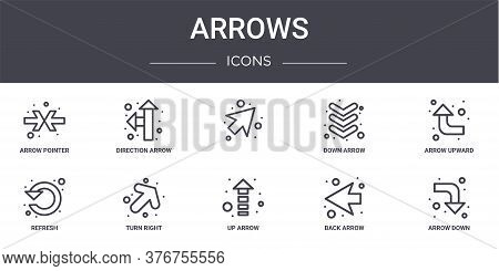 Arrows Concept Line Icons Set. Contains Icons Usable For Web, Logo, Ui Ux Such As Direction Arrow, D
