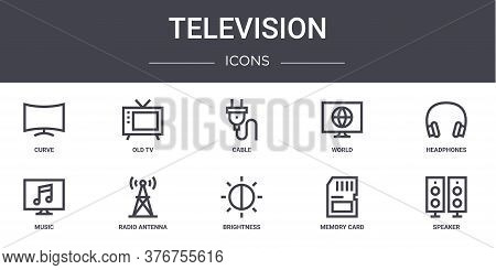 Television Concept Line Icons Set. Contains Icons Usable For Web, Logo, Ui Ux Such As Old Tv, World,