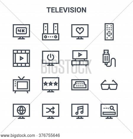 Set Of 16 Television Concept Vector Line Icons. 64x64 Thin Stroke Icons Such As Sound Bar, Movie Fil