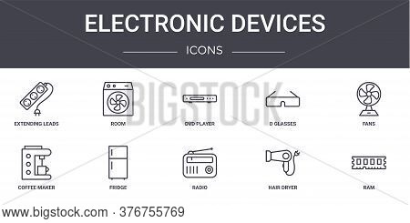 Electronic Devices Concept Line Icons Set. Contains Icons Usable For Web, Logo, Ui Ux Such As Room,