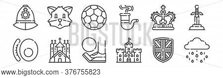 12 Set Of Linear England Icons. Thin Outline Icons Such As Rainy, Castle, Church, Crown, Football, F