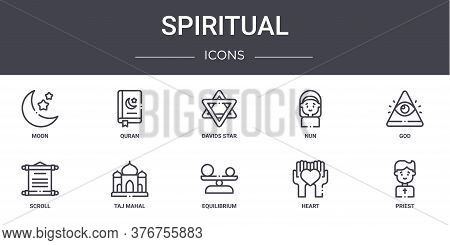 Spiritual Concept Line Icons Set. Contains Icons Usable For Web, Logo, Ui Ux Such As Quran, Nun, Scr