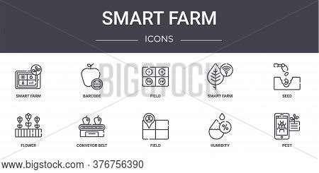 Smart Farm Concept Line Icons Set. Contains Icons Usable For Web, Logo, Ui Ux Such As Barcode, Smart