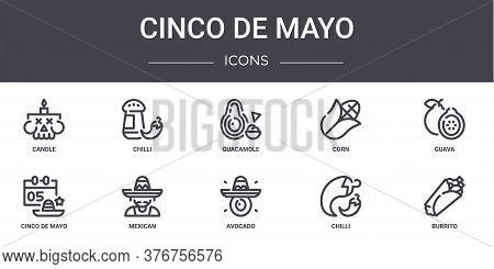 Cinco De Mayo Concept Line Icons Set. Contains Icons Usable For Web, Logo, Ui Ux Such As Chilli, Cor