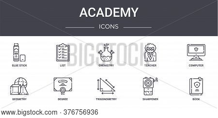 Academy Concept Line Icons Set. Contains Icons Usable For Web, Logo, Ui Ux Such As List, Teacher, Ge