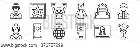 12 Set Of Linear Fame Icons. Thin Outline Icons Such As Award, Backstage, Social Media, Carpet, Fans
