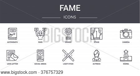 Fame Concept Line Icons Set. Contains Icons Usable For Web, Logo, Ui Ux Such As Fans, Stage, Love Le