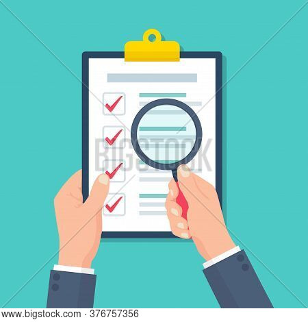 Businessman Holding Held Magnifier On Clipboard With Audit Document In A Flat Design