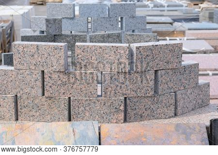 Granite Stones Are Sold In Construction Shop. Building Materials For Decoration And Construction. Co