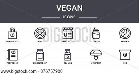 Vegan Concept Line Icons Set. Contains Icons Usable For Web, Logo, Ui Ux Such As Kiwi, Smoothie, Rec