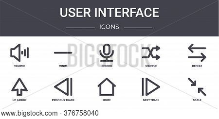 User Interface Concept Line Icons Set. Contains Icons Usable For Web, Logo, Ui Ux Such As Minus, Shu