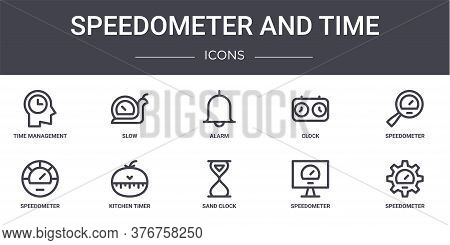 Speedometer And Time Concept Line Icons Set. Contains Icons Usable For Web, Logo, Ui Ux Such As Slow
