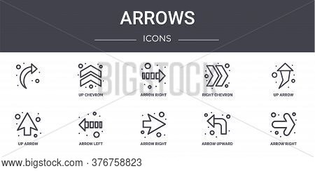 Arrows Concept Line Icons Set. Contains Icons Usable For Web, Logo, Ui Ux Such As Up Chevron, Right