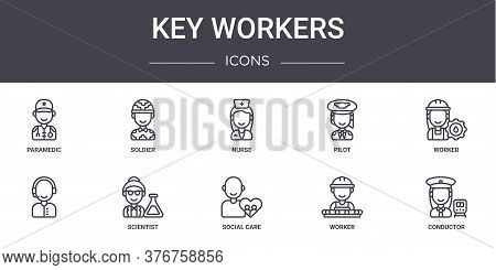 Key Workers Concept Line Icons Set. Contains Icons Usable For Web, Logo, Ui Ux Such As Soldier, Pilo