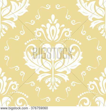 Orient Vector Classic Pattern. Seamless Abstract Background With Vintage White Elements. Orient Yell