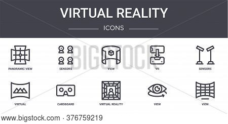 Virtual Reality Concept Line Icons Set. Contains Icons Usable For Web, Logo, Ui Ux Such As Sensors,