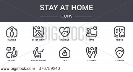 Stay At Home Concept Line Icons Set. Contains Icons Usable For Web, Logo, Ui Ux Such As Do Not Go Ou