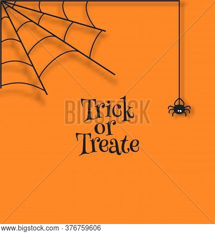 Spider Weave A Web In The Corner Of Orange Background. Halloween Vector Card Illustration In Paper C