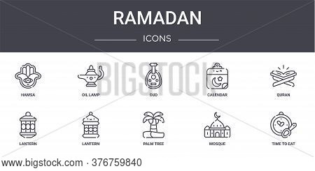 Ramadan Concept Line Icons Set. Contains Icons Usable For Web, Logo, Ui Ux Such As Oil Lamp, Calenda