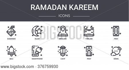 Ramadan Kareem Concept Line Icons Set. Contains Icons Usable For Web, Logo, Ui Ux Such As Islam, Tim