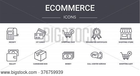 Ecommerce Concept Line Icons Set. Contains Icons Usable For Web, Logo, Ui Ux Such As Cit Cards, Guar
