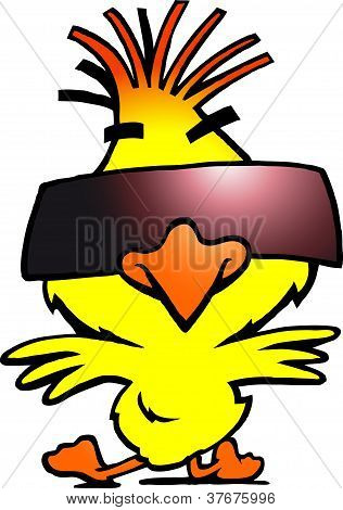 Hand-drawn Vector Illustration Of An Smart Dancer Chicken With Cool Sunglass