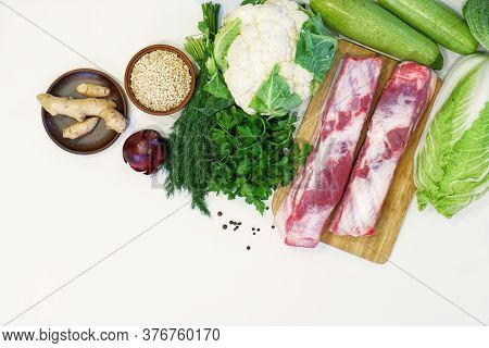 Raw Meat, Fresh Green Vegetables, Cereals, Spices On A White Background. Balanced Diet Concept, Flex