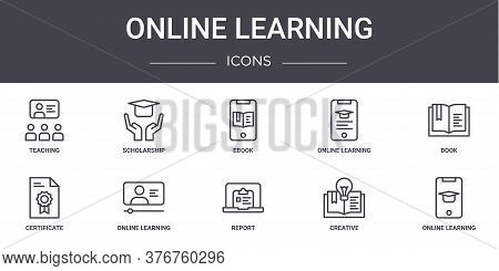 Online Learning Concept Line Icons Set. Contains Icons Usable For Web, Logo, Ui Ux Such As Scholarsh