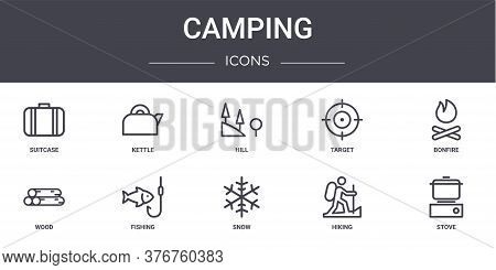 Camping Concept Line Icons Set. Contains Icons Usable For Web, Logo, Ui Ux Such As Kettle, Target, W