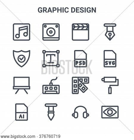 Set Of 16 Graphic Design Concept Vector Line Icons. 64x64 Thin Stroke Icons Such As Speaker, Protect