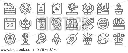 Mother Earth Day Line Icons. Linear Set. Quality Vector Line Set Such As Wind Energy, Solar Panel, W