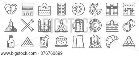 Europe Line Icons. Linear Set. Quality Vector Line Set Such As Bitterballen, Sagrada Familia, Semla,