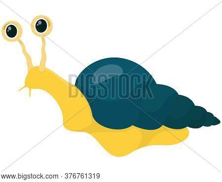 Snail In Cartoon Style. Very Slow Animal.