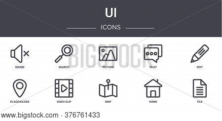 Ui Concept Line Icons Set. Contains Icons Usable For Web, Logo, Ui Ux Such As Search, Chat, Placehol