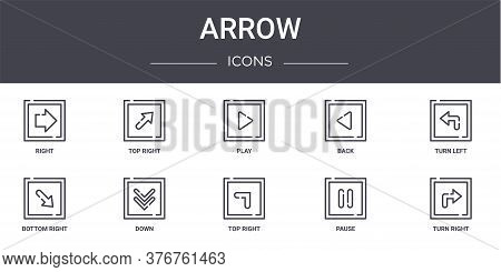 Arrow Concept Line Icons Set. Contains Icons Usable For Web, Logo, Ui Ux Such As Top Right, Back, Bo