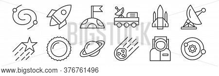 12 Set Of Linear Space Icons. Thin Outline Icons Such As Solar System, Asteroid, Sun, Spacecraft, Mo