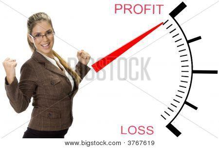 Mooie vrouw in de buurt van winst verlies Meter