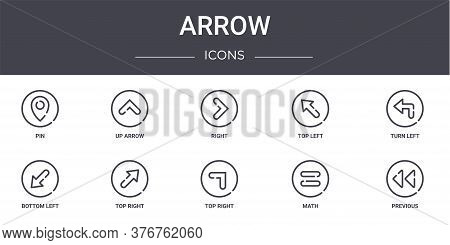 Arrow Concept Line Icons Set. Contains Icons Usable For Web, Logo, Ui Ux Such As Up Arrow, Top Left,