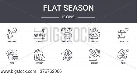Flat Season Concept Line Icons Set. Contains Icons Usable For Web, Logo, Ui Ux Such As Summer, Bonfi