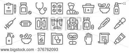 Pharmacy Line Icons. Linear Set. Quality Vector Line Set Such As Ointment, Rubber Gloves, Medical Fo