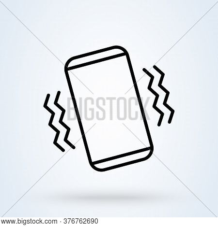 Vibrate Phone Line. Vector Simple Modern Icon Design Illustration.