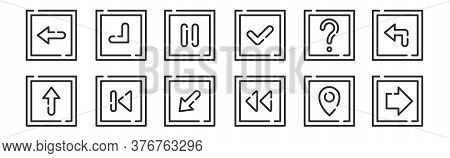 Set Of 12 Thin Outline Icons Such As Right, Previous, Back, Help, Pause, Bottom Right For Web, Mobil
