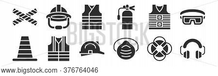 Set Of 12 Thin Outline Icons Such As Ear Protection, Safety Mask, Life Vest, Life Jacket, Vest, Helm