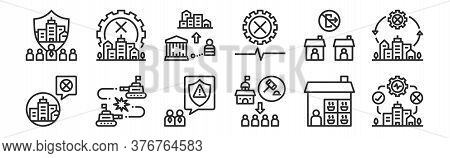 Set Of 12 Thin Outline Icons Such As City, Force, War, Quarantine, Prison, Shutdown For Web, Mobile