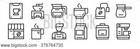 Set Of 12 Thin Outline Icons Such As Coffee Machine, Coffee Bean, Hot Coffee, Instant Maker, Grinder