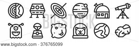Set Of 12 Thin Outline Icons Such As Asteroid, Cat, Space Capsule, Observatory, Black Hole, Lunar Mo