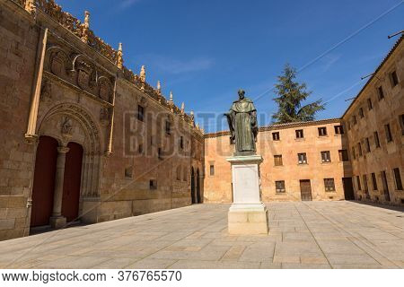 Salamanca, Spain - April 28, 2019: Sculpture of Fray Luis de Leon Salamanca Castilla y Leon Spain