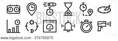 Set Of 12 Thin Outline Icons Such As Speed Radar, Alarm, Day And Night, Duration, Bullet Time, Arriv