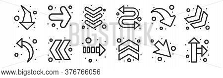 Set Of 12 Thin Outline Icons Such As Direction Arrow, Up Chevron, Double Chevron, Down Right Arrow,