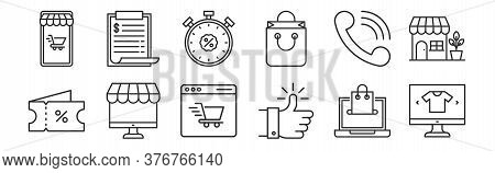 Set Of 12 Thin Outline Icons Such As Ecommerce, Thumbs Up, Ecommerce, Telephone, Discount, Price Lis
